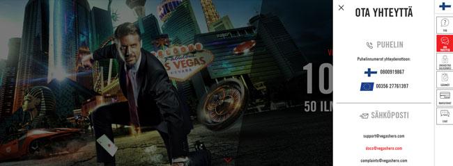 Vegas Hero asiakaspalvelu