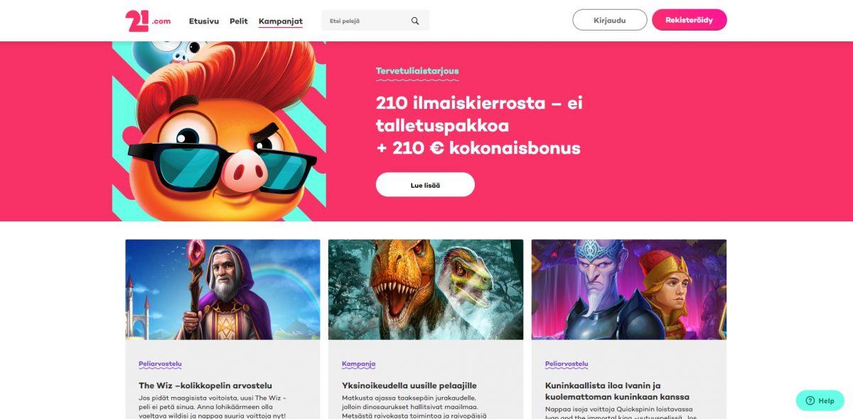21.com tarjoukset ja kampanjat