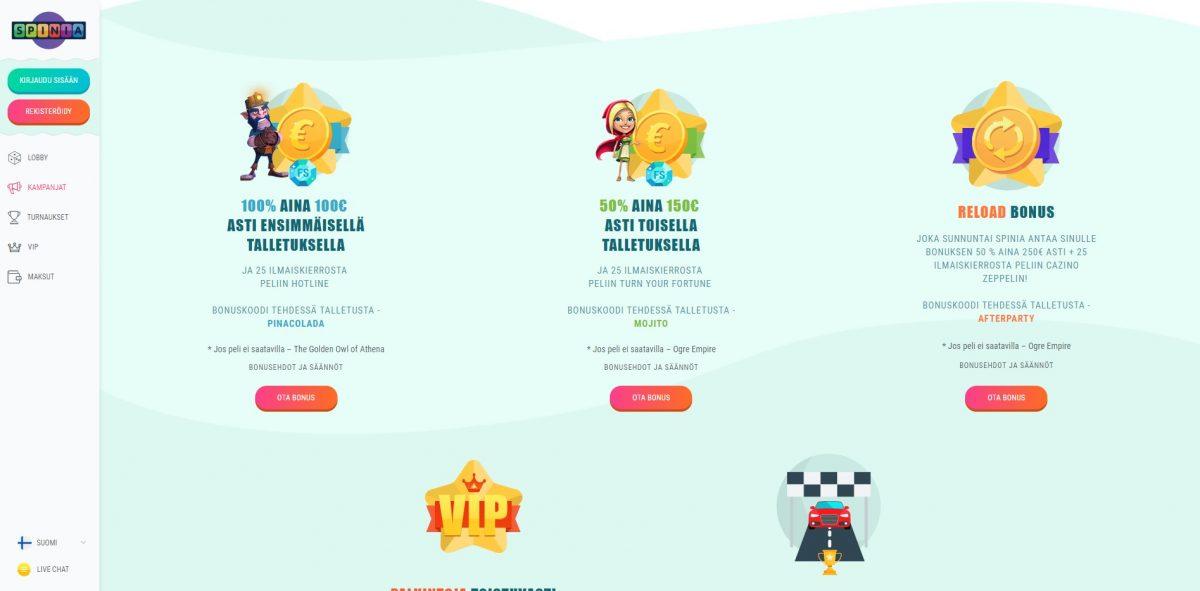 Spinia Casino kampanjat