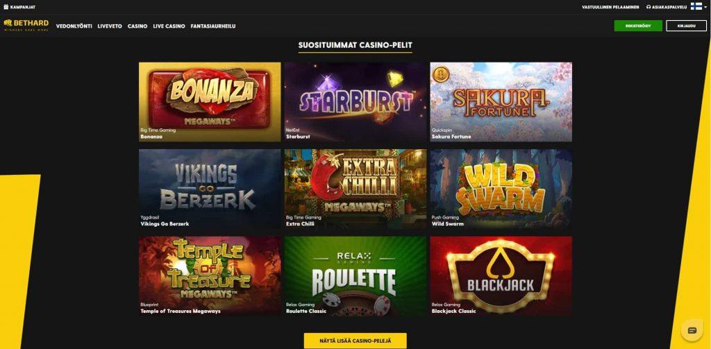 Bethard Casino suositut pelit