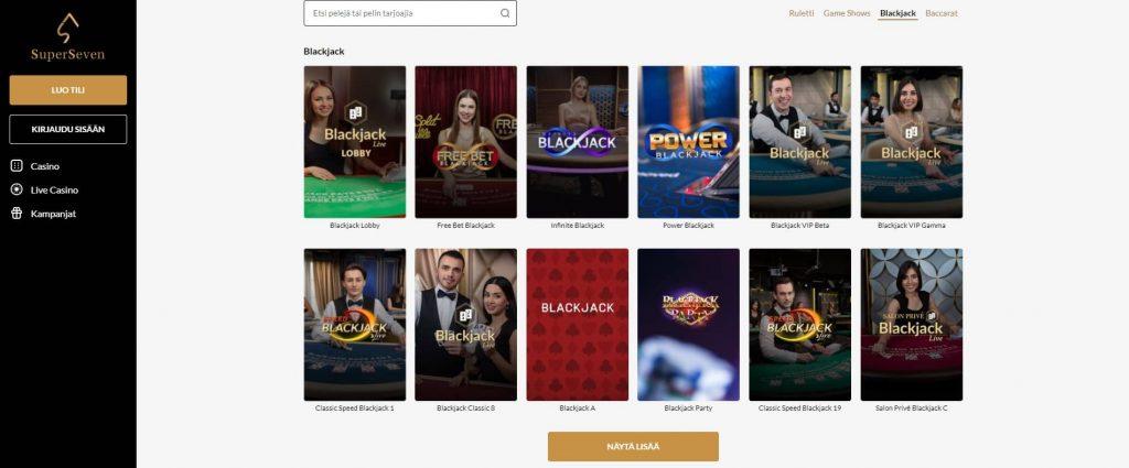 Super Seven Casino live-blackjack