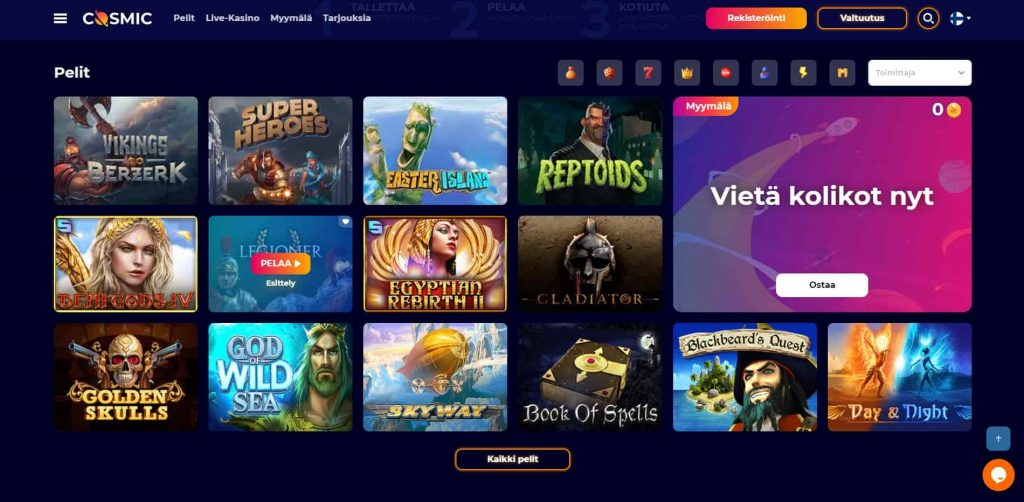 CosmicSlot Casino pelivalikoima