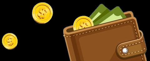 One Casino lompakko ja kolikoita