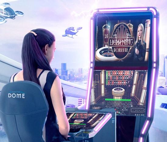 Casino Dome nainen pelikoneella