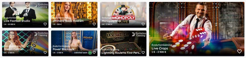 Uberlucky Casino live-kasinon pelivalikoima