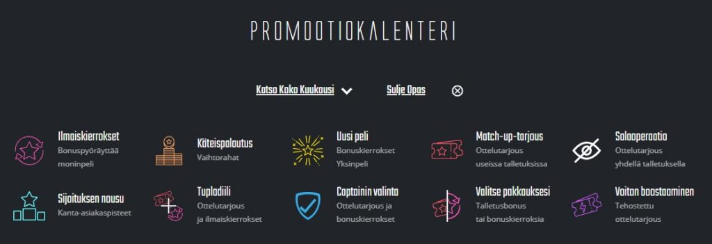 Captain Spins Casino promootiokalenteri