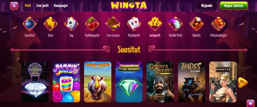 Winota Casino suositut pelit