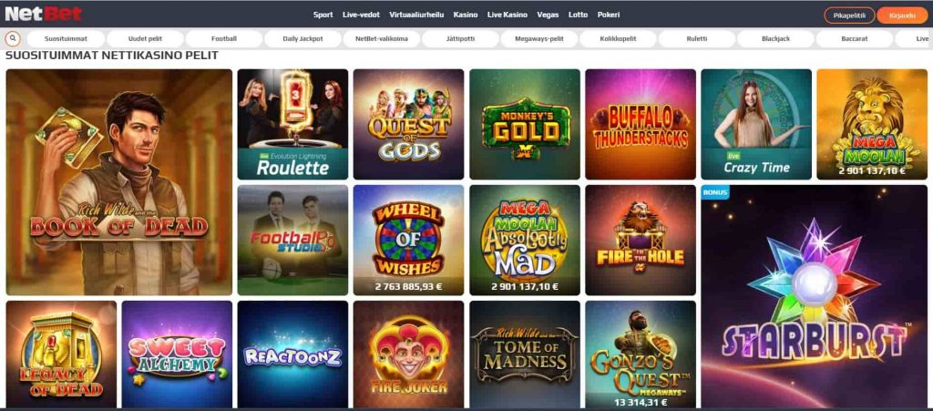 NetBet kasino pelivalikoima
