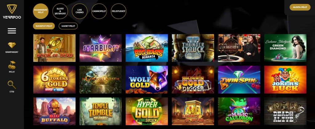Vegasoo Casino pelivalikoima