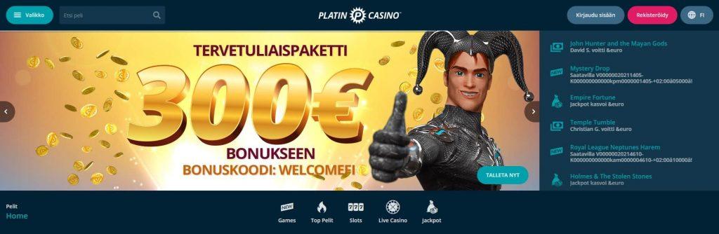 Platin Casino etusivu