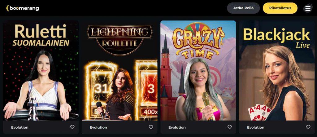 Boomerang Casino live-kasino