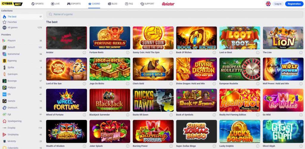 Cyber.bet Casino kolikkopelit