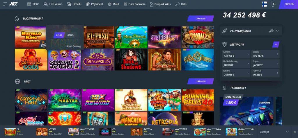 Jet Casino kolikkopelit
