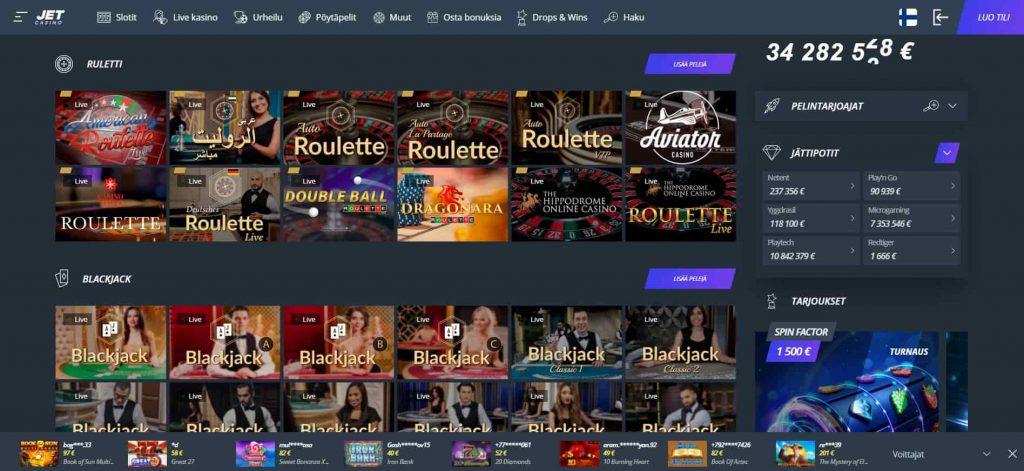 Jet Casino pöytäpelit